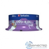 Verbatim  Диски DVD+R  8-x, 8.5Gb Printable Double Layer, 25 шт, Cake Box (43667)