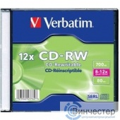 Verbatim  Диск CD-RW  700Mb 8-12x Slim case (шт) (43762)