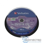 Verbatim  Диски DVD+R , 8x, 8.5Gb Double Layer, 10шт, Cake Box (43666)